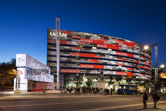 Mégaphone turned public speech into text - in real time - that was illuminated on the front of the UQAM Président-Kennedy building. Photo © Moment Factory
